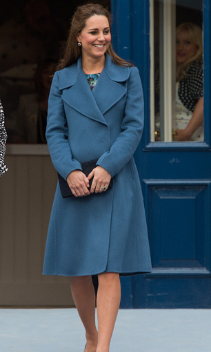 The Duchess of Cambridge glowed in teal while at the Emma Bridgewater Factory on February 18 in Stoke on Trent, England.