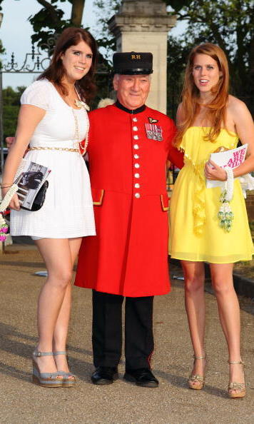 June 2010: Princess Eugenie and Princess Beatrice helped auction off items at the Elephant Parade auction in aid of The Elephant Family at Royal Hospital Chelsea.