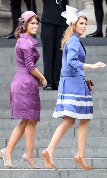 June 2012: The sisters were certainly coordinated in their purple and blue outfits for the Service of Thanksgiving at St. Paul's Cathedral.