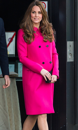 For her final engagement at the Stephen Lawrence Center on March 27 Kate recycled her bold fuchsia coat by British brand Mulberry.