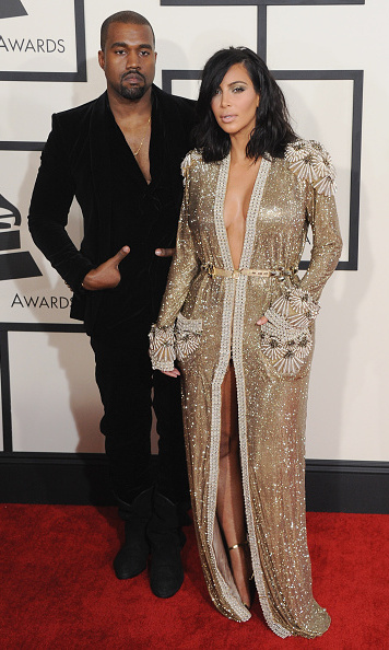 The couple arrived at the 57th Annual GRAMMY Awards on February 8, 2015 in Los Angeles sparking quite the media frenzy over Kim's Jean Paul Gaultier robe gown.