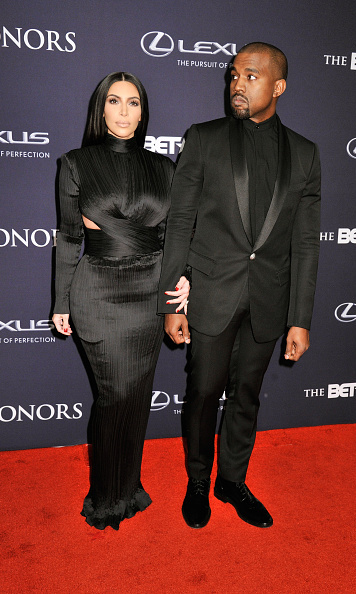 Kim and Kanye coordinated in all black Balmain ensembles for the the 2015 BET Awards.
