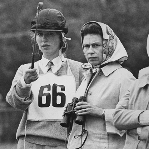 Looking serious at the 1968 Eridge Horse Trials. At her side was her daughter Princess Anne.
