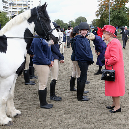 In October, 2013, the Queen looked pleased to make the acquaintance of young riders and a furry friend at a London community riding club.