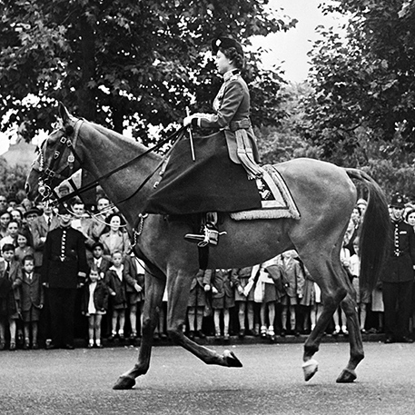 The newly-coronated Queen wore a Colonel-in-Chief Scots Guards Uniform as she rode a horse named Winston on June 6, 1952.