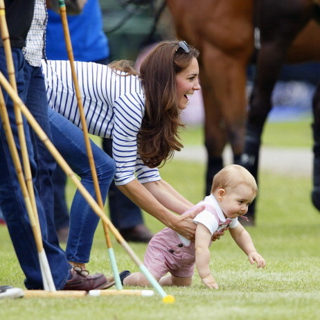 Like any mom, Kate was helping her son take his first steps.