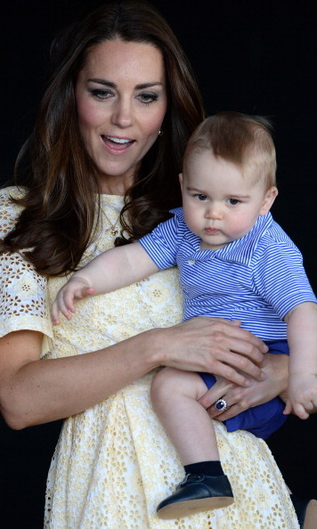 Kate had her hands full with Prince George while traveling.