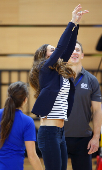 Kate wasn't afraid to get into a game of volleyball.