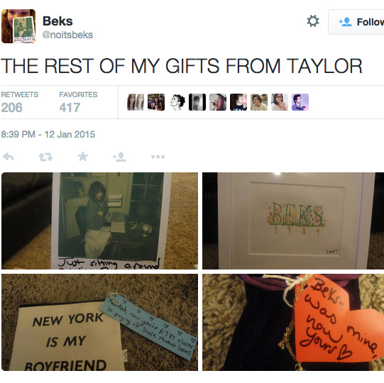 Taylor sent a care package to a young fan that included letters, a painting and a check for $1,989 to help her pay her student loans. 