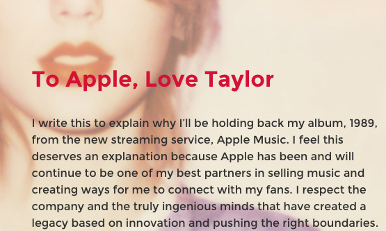 Taylor pulled her '1989' album from the Apple streaming service after learning that the company would not pay artists during the free three-moth trial. Taylor spoke and Apple listened, agreeing to make sure artists are fully compensated for their music.