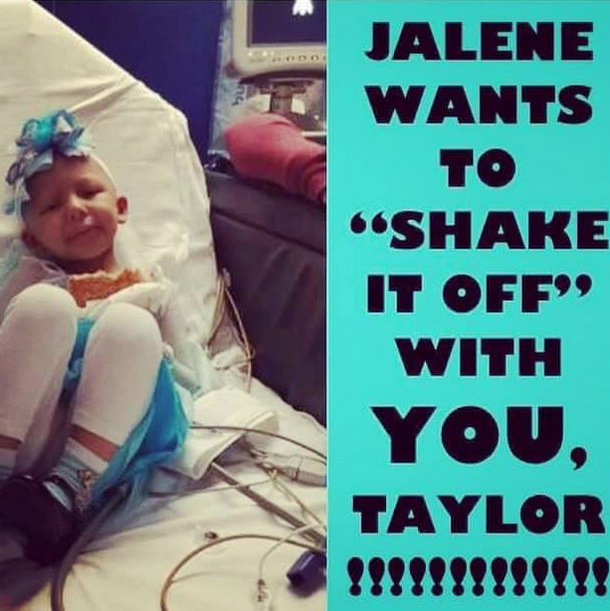 #ShakeItOffForJalene: Taylor encouraged fans across the world to participate in her and 4-year-old fan Jalene Salinas' online dance party, an act that Jalene can cross off of her bucket list thanks to the pop star. 