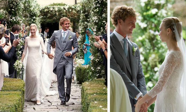 Italian aristocrat and journalist Beatrice Borromeo wore an ivory Giorgio Armani gown with princess sleeves and lace overlay to wed Princess Grace of Monaco's grandson Pierre Casiraghi on Saturday, August 1. The ceremony, which followed the couple's civil wedding in Monaco a week earlier, took place on Italy's Borromean islands, which are owned by the bride's family.