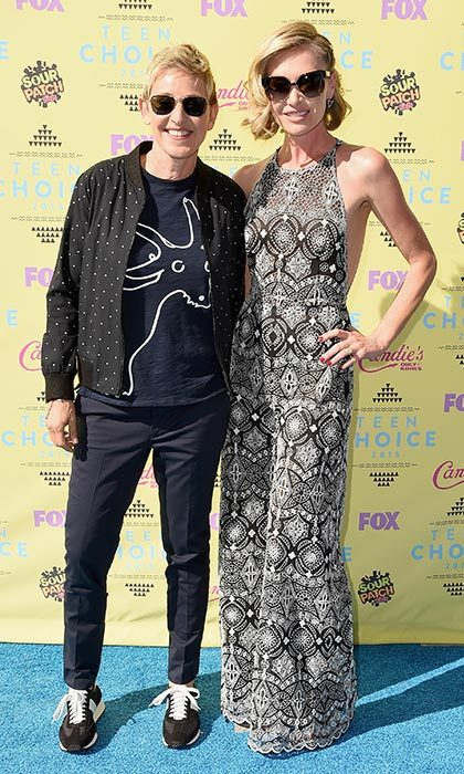 Ellen DeGeneres and Portia de Rossi showed off their casual chic styles.