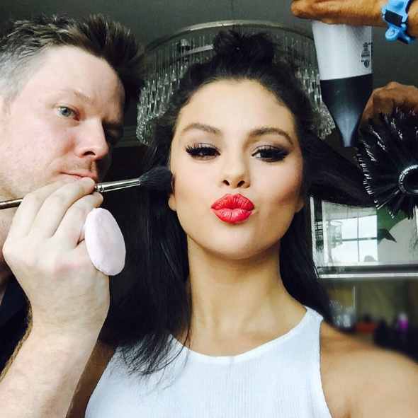 "Selena Gomez humorously captioned this pic: ""It's all fun until I move around too much and @byjakebailey gets mad at me."" Jake has helped create several makeup looks for the actress.