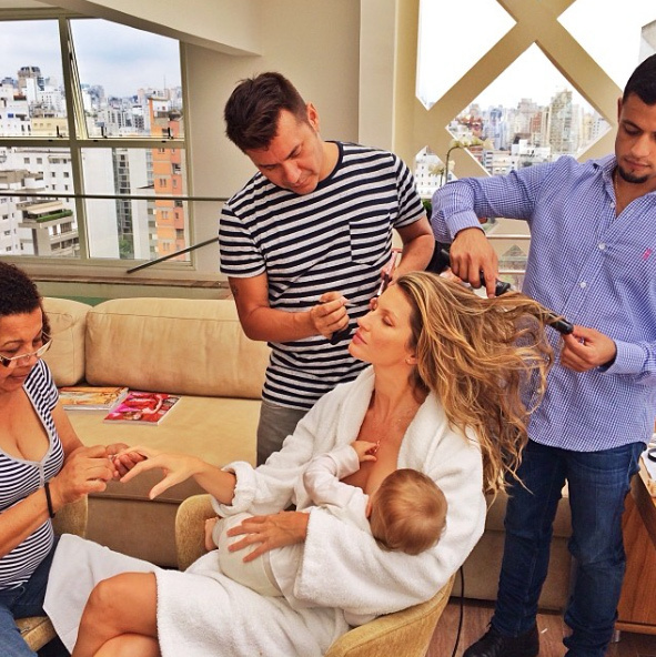 Supermodel mom Gisele Bundchen is used to multi-tasking – and having a rotating glam squad as she preps for various photo shoots.