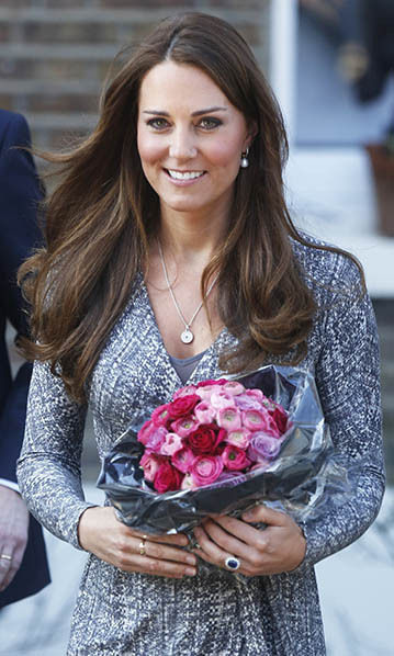 While pregnant with Prince George in February 2013, the Duchess stepped out in London accessorizing her monochrome MaxMara dress with another staple piece – her Asprey necklace. The $1,540 white-gold 167 Button Pendant necklace features an amethyst stone surrounded by pavé diamonds and is set in 18-carat white gold. 
