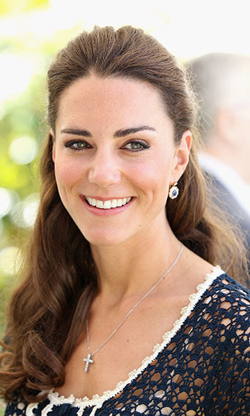 At a reception to mark the launch of Tusk Trust's US Patron's Circle in Santa Barbara, Kate paired an elegant diamond-cross pendant with a pair of sapphire-and-diamond drop earrings, reported to be remodeled versions of one of Princess Diana's favorite pairs.