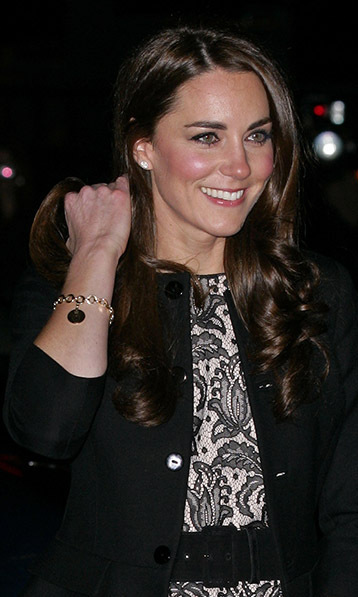 Kate doesn't often wear chunky bracelets, but this one has a special place in her heart. The disc charm bracelet was a wedding gift from Camilla Parker Bowles, who gave it to her shortly after she and William announced their engagement. William and Kate's names are engraved on either side of the charm, and Prince Charles's wife also has a similar version of the bracelet.