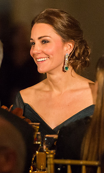 Wearing a Jenny Packham dress for the St. Andrews 600th Anniversary dinner in New York City in 2014, Kate also showed off her diamond-and emerald-earrings. At the time, the jewels were said to have been a private gift with a matching bracelet.