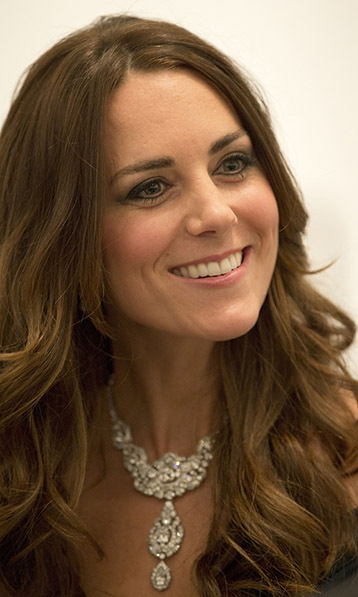 All eyes were on Kate's eye-popping necklace when she attended the Portrait Gala in 2014. The exquisite Cartier piece features 38 diamonds and was a gift to Queen Elizabeth from Nizam of Hyderabad at her wedding to Prince Philip.