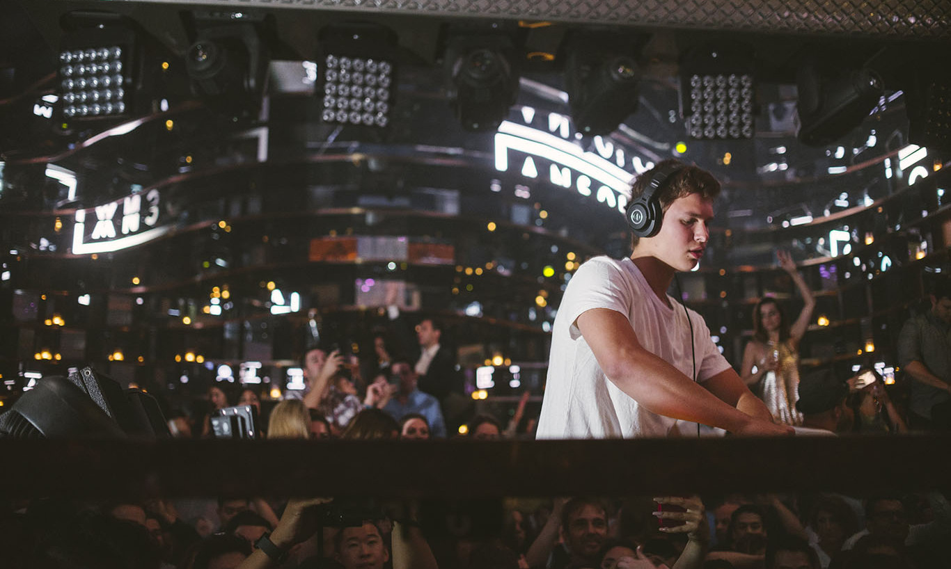 Aug 15: Ansel Elgort (DJ Ansolo) opening for Nicky Romero at OMNIA Nightclub in Las Vegas.
