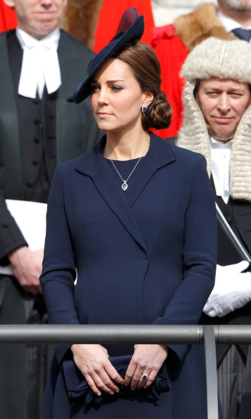 Kate debuted another gorgeous set of jewels at the Service of Commemoration for Afghanistan at St Paul's Cathedral. The G Collins necklace is made of 6.3 carats of blue tanzanite surrounded by .87 carat of diamonds and is set in platinum. 