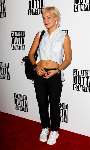 August 20: Lily Allen kept it casual as she attended the screening of 'Straight Outta Compton' in London. 