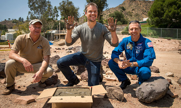 August 18: Matt Damon was all smiles after making his cement mark at NASA's Journey to Mars exhibit in California. 