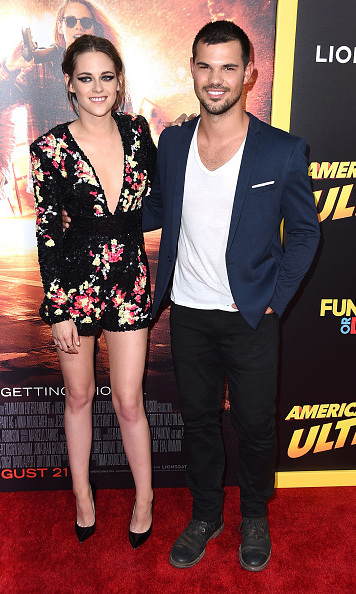 August 18: It was a mini 'Twilight' reunion on the 'American Ultra' red carpet while pals Taylor Lautner and Kristen Stewart smiled for a pic. 