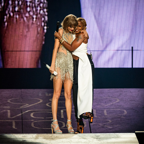 "August 22: Mary J. Blige hugged Taylor Swift on stage during the ""Shake It Off"" singer's Los Angeles concert.