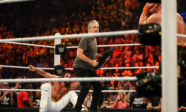 August 23: Jon Stewart got into the action at WWE SummerSlam 2015 at the Barclays Center in Brooklyn, New York.