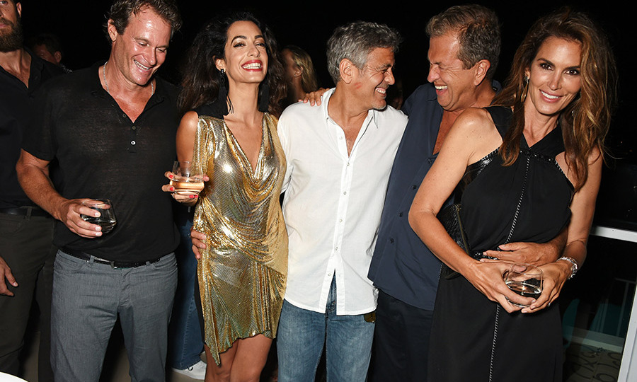 August 23: Rande Gerber, Amal Clooney, George Clooney, Mario Testino and Cindy Crawford attended the launch of Casamigos Tequila at Ushuaia Beach Hotel Ibiza.