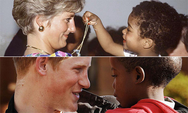 Top, Diana meeting a toddler at a hostel for abandoned children. Bottom, Prince Harry connecting with a youngster in Africa in 2006.