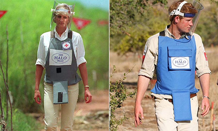 Intent on creating awareness about devastating land mines in Angola, Diana donned a protective suit and walked through a minefield. The 1997 image shocked the world and brought much-needed attention to the subject. Carrying on his mother's work, Prince Harry traveled to Mozambique in 2010 and suited up for a tour of the minefields.