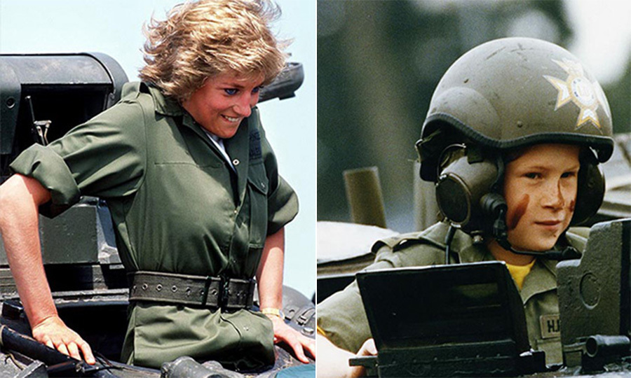 For decades, photos of her sons have evoked her adventurous spirit. Diana donned a green jumpsuit and squeezed into a tank during a visit to the Royal Hamphsire at Tidworth in June 1998. Little Harry, then 8, was the spitting image of his mother when he wore an army uniform for a ride in a tank at the British regiment in Germany.