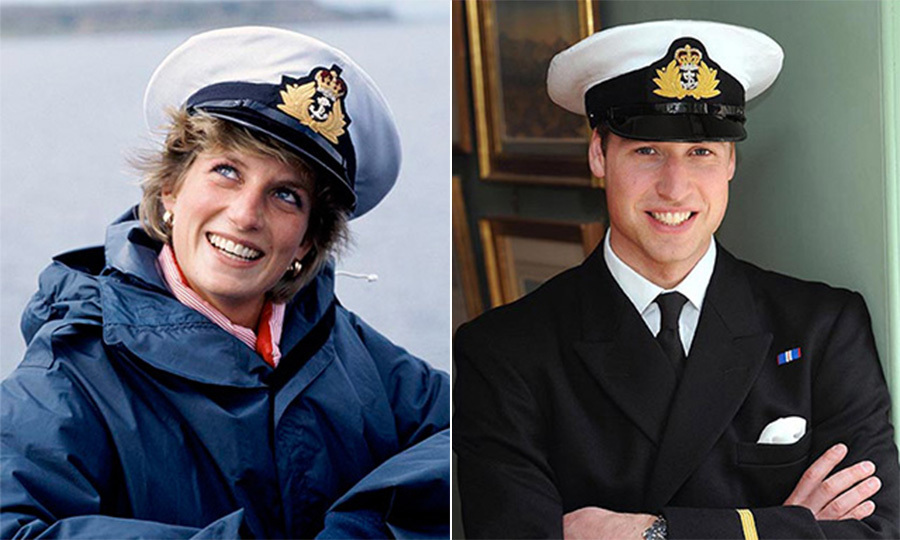 Like mother, like son: Right, Prince William, proudly dressed in his naval uniform for a portrait in London ahead of his deployment with the Royal Navy at the frigate HMS Iron Duke in May 2008. The Prince bore a striking resemblance to his blue-eyed mother, who showed off a military cap of her own during an outing in England in the summer of 1986.