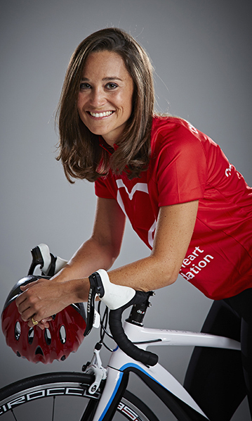 She's got heart. Pippa starred in a photo promoting the British Heart Foundation's London to Brighton Bike Ride.