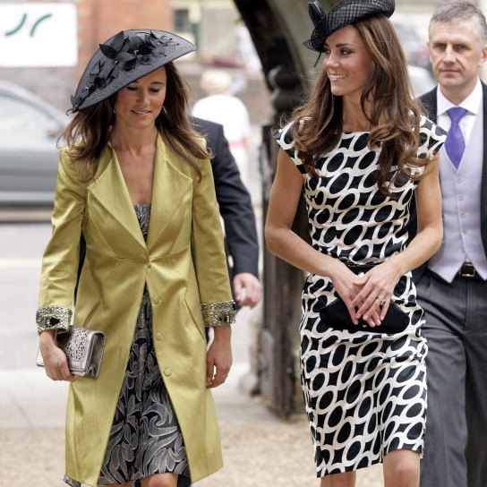 Dynamic duo, Pippa and Kate both looked fashionable at the wedding of Sam Waley-Cohen And Annabel Ballin.