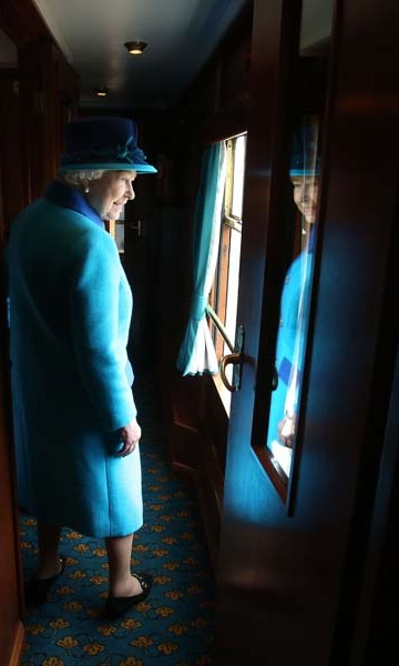 September 9: Even on her big day, the work didn't stop.  Queen Elizabeth traveled on a steam train to inaugurate the new Scottish Borders Railway in Tweedbank, England. 