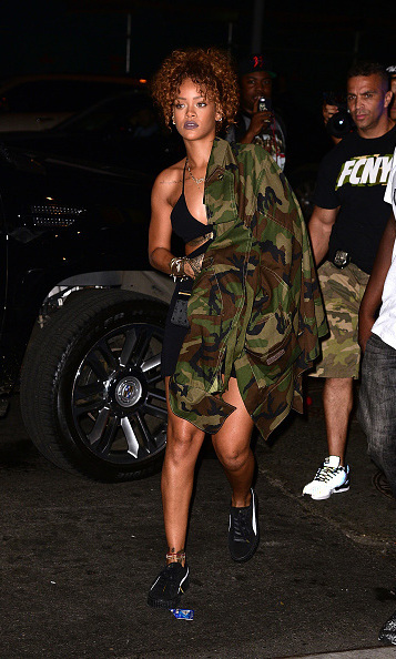 September 9: A lady of the city! Rihanna and her camo-jacket were spotted leaving the Travis Scott concert in New York City. 