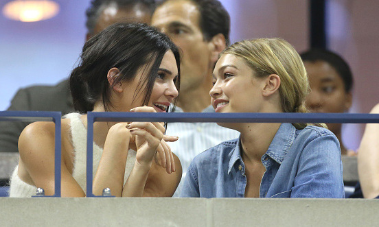 September 8: No, you're pretty! Kendall Jenner and Gigi Hadid shared laughs during the US Open in the Emirates Airline Suite.
