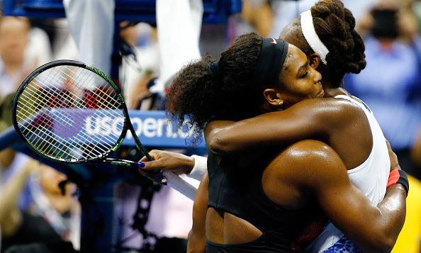 September 8: Sisters first! Serena Williams and Venus hugged after their match during the US Open.  
