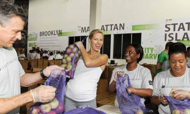 September 11: Karolina Kurkova helped pack fresh fruit at a City Harvest in Long Island City, New York on behalf of Feeding America during Hunger Action Month.