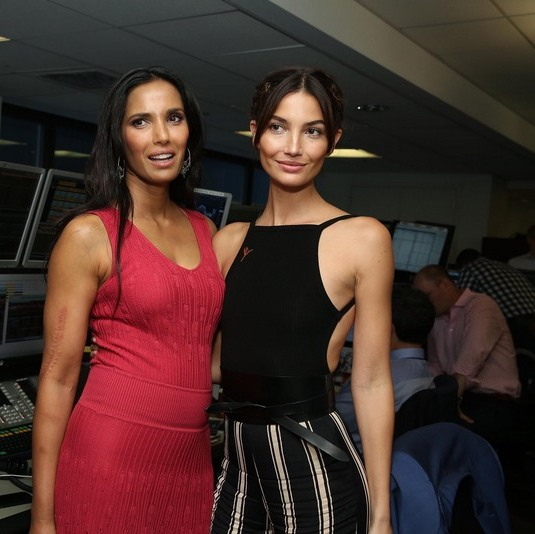September 11: Padma Lakshmi and Lily Aldridge caught up during the annual charity day held by Cantor Fitzgerald and BGC to honor the lives lost during 9/11.