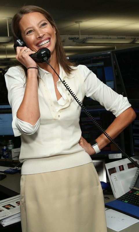 September 11: Christy Turlington Burns made phone calls at the Cantor Fitzgerald and BGC charity day in NYC.
