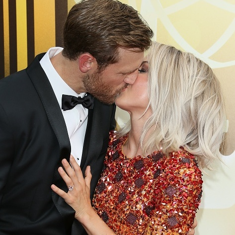 September 12: Julianne Hough gave her fiancé Brooks Laich a smooch on the Creative Arts Emmy Awards at the Microsoft Theater in L.A.