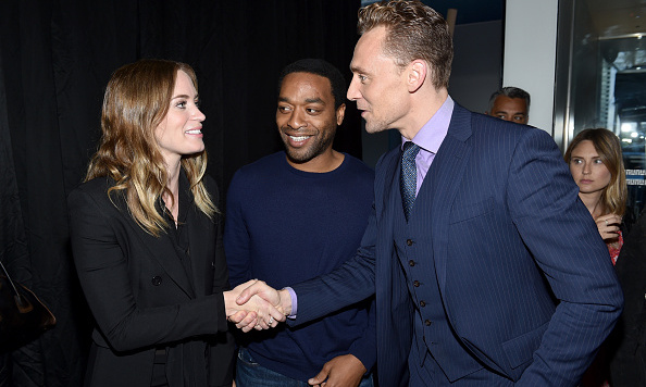 September 12: Emily Blunt greeted actor Tom Hiddleston as Chiwetel Ejiofor looked on during Entertainment Weekly's Toronto Must List Party at the Thompson Hotel.