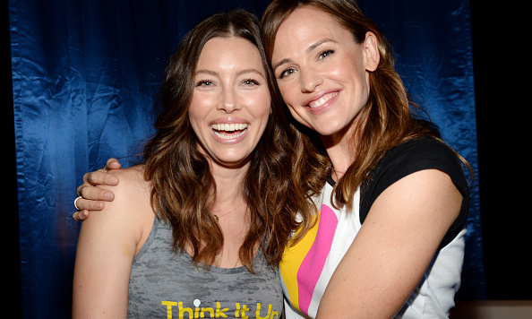 September 11: Jessica Biel and Jen Garner hung at the Think It Up education initiative telecast for teachers and students hosted by Entertainment Industry Foundation in Santa Monica.