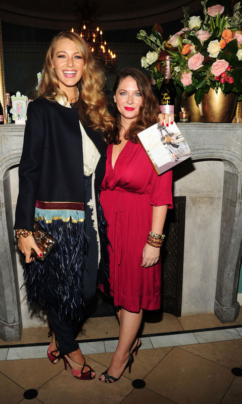 "September 12: Blake Lively toasted friend Angie Niles at her ""Bright Lights Paris- an insider travel guide to Paris"" celebratory release party with Moët at Ladurée Soho.