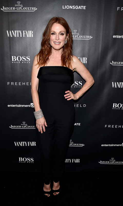 September 13: Julianne Moore stunned in black during the 'Freeheld' celebration at Montecito restaurant in Toronto.